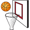 Vector clipart: Basketball board with basket and ball