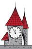 Vector clipart: Cartoon castle with clock