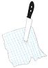 Векторный клипарт: Нож проткнувший в лист бумаги