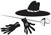 Schwarzer Hut mit Handschuhen und Degen