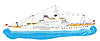 Векторный клипарт: Большой белый корабль