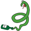Cartoon green snake of bottle
