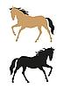 Vector clipart: running horses on white