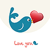 Vektor Cliparts: verliebter Vogel mit Herz