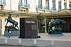 Statues of horse and rhino near the museum d`Orsay | Stock Foto