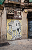 Gate with horse graffiti in Barcelona | Stock Foto