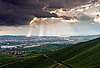 Cloudy stormy sky with sun rays | Stock Foto