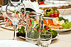 Glass and salads on the table | Stock Foto