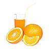オレンジジュースとオレンジのスライス   写真