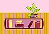Vector clipart: bookshelf and flower