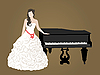 Vector clipart: bride and black grand piano