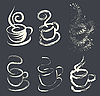 Vector clipart: brushed coffee cups