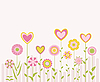 Vector clipart: cute flowers and hearts