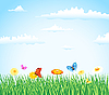 Vector clipart: grass with flowers and butterflies