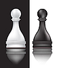 Vector clipart: black and white pawns