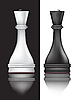 Vector clipart: black and white chess queens