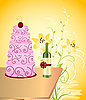 Vector clipart: wine bottle and cake