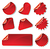 Vector clipart: set of red stickers