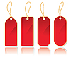 Vector clipart: set of vertical red labels