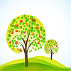 Vector clipart: trees with fruits