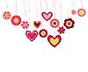 Векторный клипарт: милые цветы и сердечки