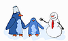 Vector clipart: funny penguins and snowman