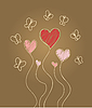Vector clipart: hearts and butterflies