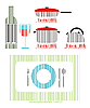 Vector clipart: kitchen utensils as stylized barcodes