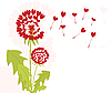 Vector clipart: dandelions with seeds of love
