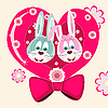 two rabbits and heart