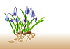 Vector clipart: blue flowers