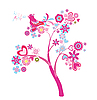 Vector clipart: love tree with flowers and hearts