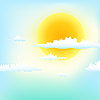 Vector clipart: sun in clouds