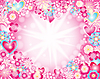 Vector clipart: heart made of flowers stars and rays