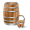 Vector clipart: barrel and bucket
