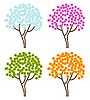 Vector clipart: four season trees