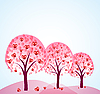 Vector clipart: abstract trees with hearts
