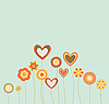 Vector clipart: abstract flowers and hearts