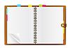offene Tagebuch auf weißem Hintergrund