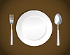Vector clipart: white plate,fork and spoon