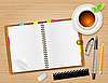 Vector clipart: diary with cup of tea
