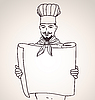 Vector clipart: chef with menu