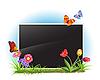 Vektor Cliparts: Bilderrahmen mit Frühling Blumen und Schmetterlinge