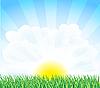 Vektor Cliparts: sonnige Landschaft