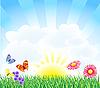 Vektor Cliparts: Frühlingslandschaft