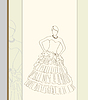 Vector clipart: wedding dress in line art style