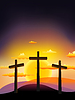 Vector clipart: three crosses on the Calvary at sunset