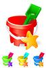 Векторный клипарт: дети ведро и игрушки