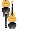 Vector clipart: realistic acoustic guitars as background