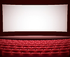Vector clipart: cinema theater background with red seats, space